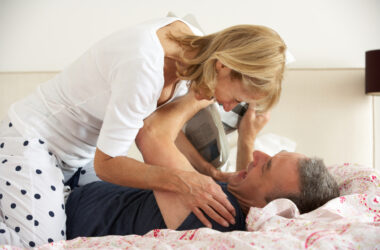 Mature couple fooling around in bed after taking fenugreek