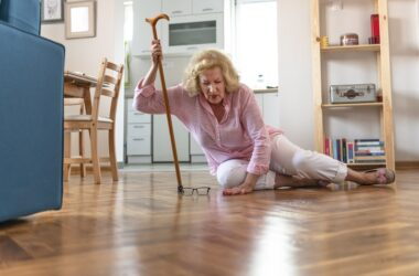 Senior woman a victim of a fall can reduce risk of future falls