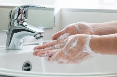 Handwashing with warm soapy water