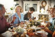 Family having a holiday meal uses Intermittent fasting to reduce health risks